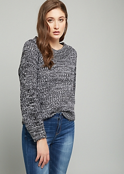Black Marled Scoop Neck Balloon Sleeve Sweater