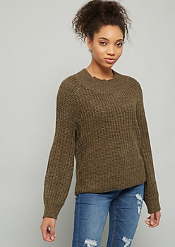 Green Marled Scoop Neck Balloon Sleeve Sweater