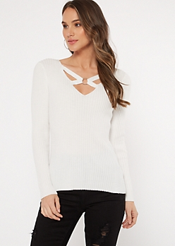 Ivory Strappy Ribbed Knit V Neck Sweater