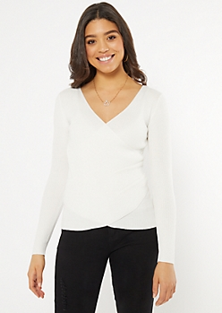 Ivory Long Sleeve Surplice Wrap Top