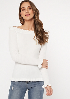 White Ribbed Knit Ruffle Hem Top