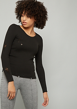 Black Distressed Ribbed Knit Sweater