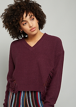Purple V Neck Distressed Sweater