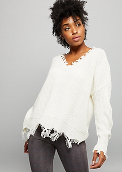 Ivory Ribbed Knit Destructed V Neck Sweater