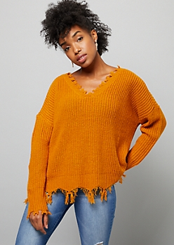 Mustard Ribbed Knit Destructed V Neck Sweater