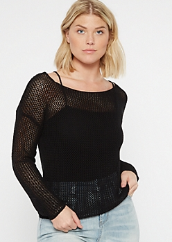 Black Fishnet Mesh Skimmer Top