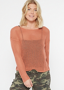 Dusty Pink Fishnet Sweater Top