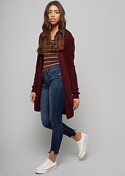 Dark Red Lace Up Back Hooded Oversized Cardigan