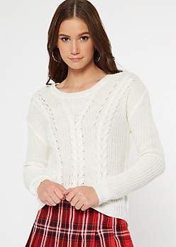 Ivory Lace Up Back Cable Knit Sweater