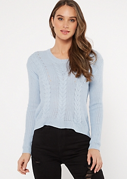 Blue Lace Up Back Cable Knit Sweater