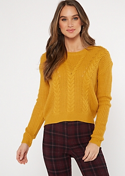 Mustard Lace Up Back Cable Knit Sweater
