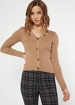 Tan Button Down Ribbed Knit Cardigan
