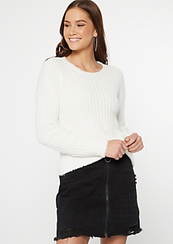 Ivory Crew Neck Teddy Sweater