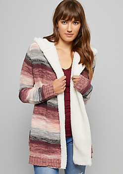 Pink Marled Sherpa Lined Hooded Cardigan