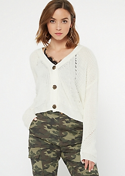 Ivory Cropped Pointelle Cardigan