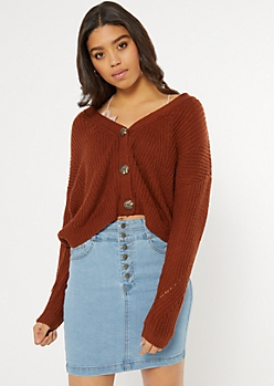 Burnt Orange Cropped Pointelle Cardigan