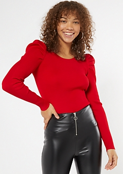 Red Ribbed Fitted Puff Sleeve Sweater