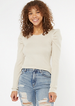 Cream Ribbed Fitted Puff Sleeve Sweater