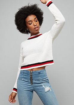 Ivory Striped Trim Ribbed Knit Skimmer Sweater