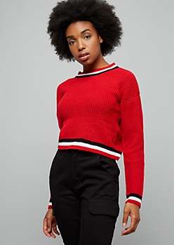 Red Striped Trim Ribbed Knit Skimmer Sweater