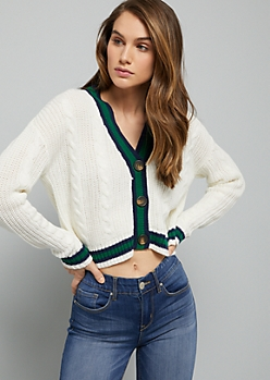 Ivory Striped Trim Button Down Cable Cardigan