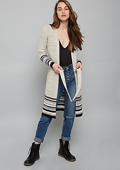 Oatmeal Striped Ribbed Knit Belted Duster Cardigan