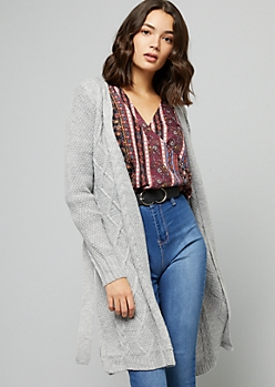 Gray Cable Knit Belted Duster Cardigan