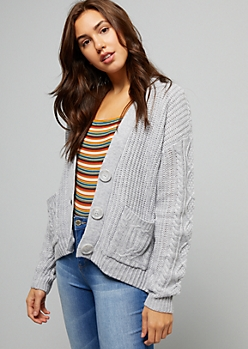 Gray Cable Knit Button Down Cardigan