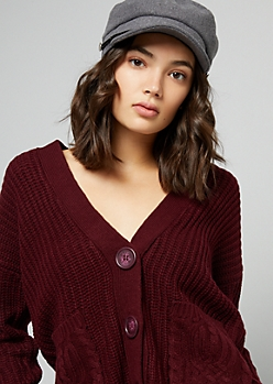 Dark Red Cable Knit Button Down Cardigan