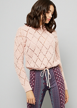 Pink Pointelle Drawstring Cropped Hooded Sweater