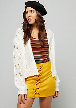 Ivory Pointelle Cable Knit Sleeve Cardigan