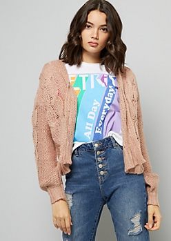 Pink Pointelle Cable Knit Sleeve Cardigan
