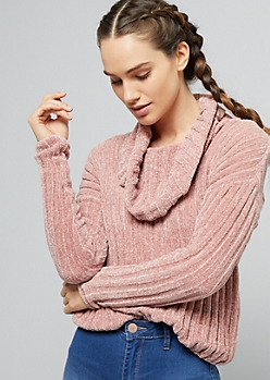 Pink Cowl Neck Ribbed Chenille Sweater