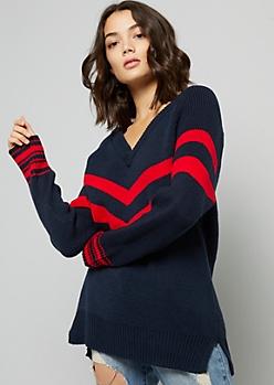 Navy Chevron Striped V Neck Oversized Sweater