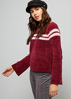 Burgundy Chenille Varsity Striped Sweater
