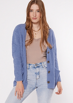 Blue Eyelash Knit Teddy Cardigan