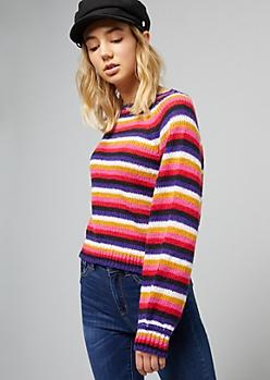 Pink Striped Crew Neck Skimmer Sweater