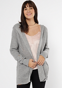 Gray Lace Up Sleeve Hooded Cardigan