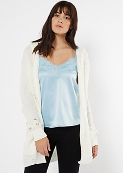 Ivory Lace Up Sleeve Hooded Cardigan
