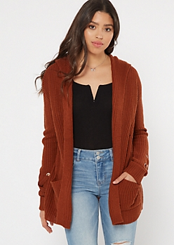 Burnt Orange Lace Up Sleeve Hooded Cardigan