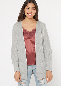 Gray Cable Knit Side Slit Cardigan