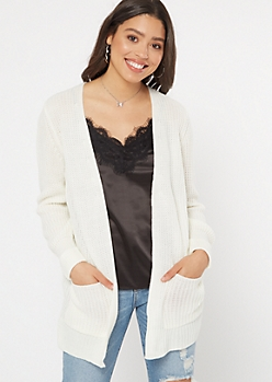 Cream Cable Knit Side Slit Cardigan
