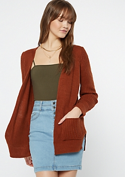 Burnt Orange Cable Knit Side Slit Cardigan