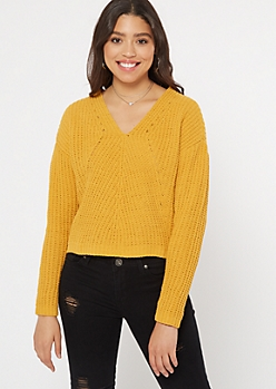 Mustard Chenille Cable Knit Sweater