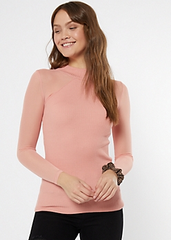 Pink Mesh Sleeve Top