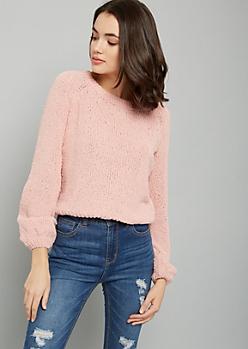 Pink Chenille Metallic Bubble Sleeve Sweater