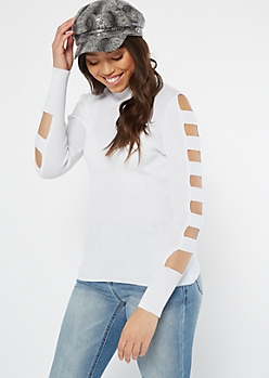 White Caged Sleeve Mock Neck Sweater