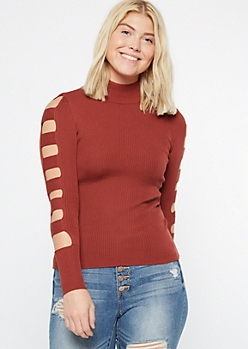 Red Caged Sleeve Mock Neck Sweater