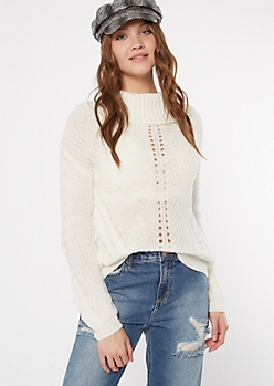 Ivory Cowl Neck High Low Sweater