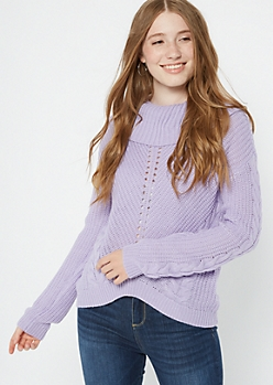 Lavender Cowl Neck High Low Sweater